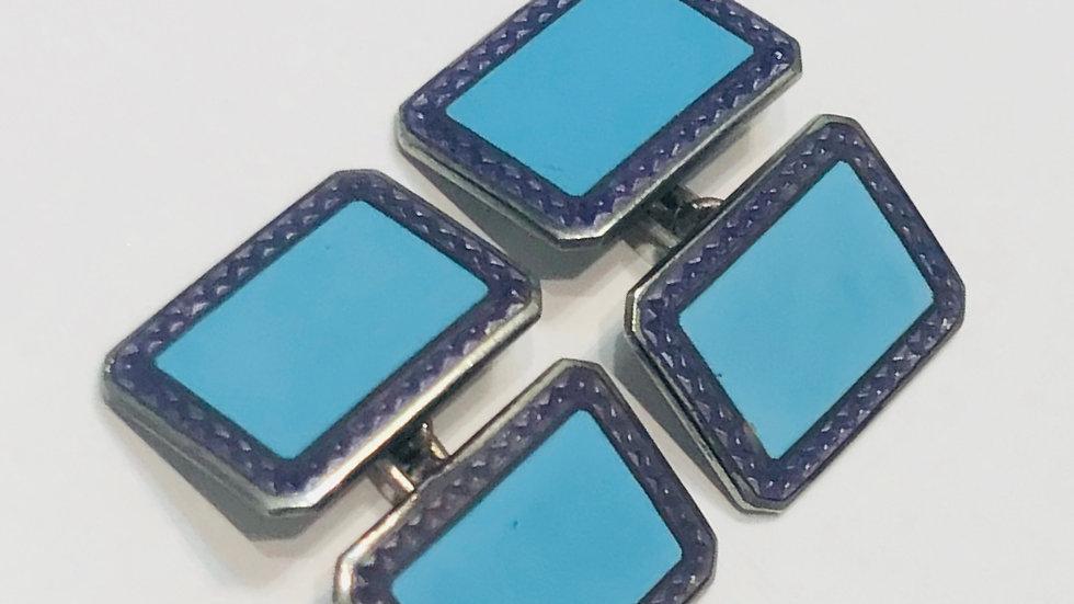 French Silver and Blue Enamel Cufflinks