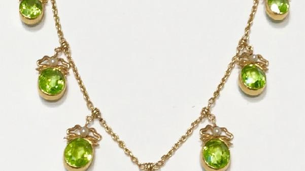 15ct Gold Peridot & Seed Pearl Necklace