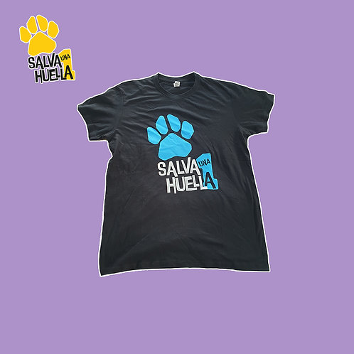Camiseta Negra Salva 1 Huella - Adulto y Niños/as