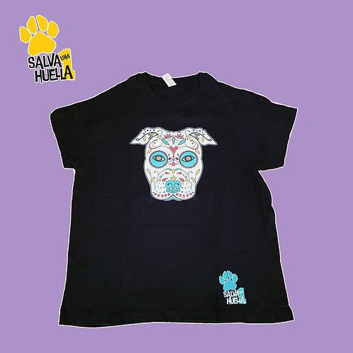 Camiseta Negra Catrina Verde- Adulto y Niños/as