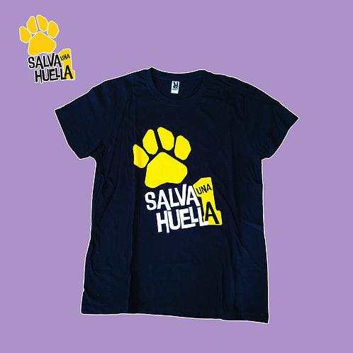Camiseta Negra Salva1 Huella - Adulto y Niños/as