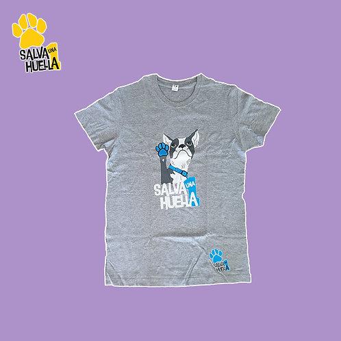 Camiseta Gris Bulldog Azul - Adulto y Niños/as