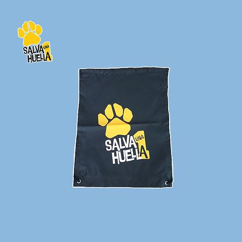 Mochila de Cuerdas Negra Salva 1 Huella Logo Amarillo