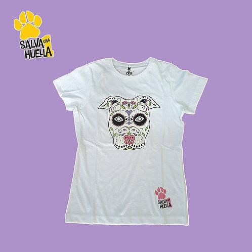 Camiseta Blanca Catrina Rosa - Mujer y Niños/as
