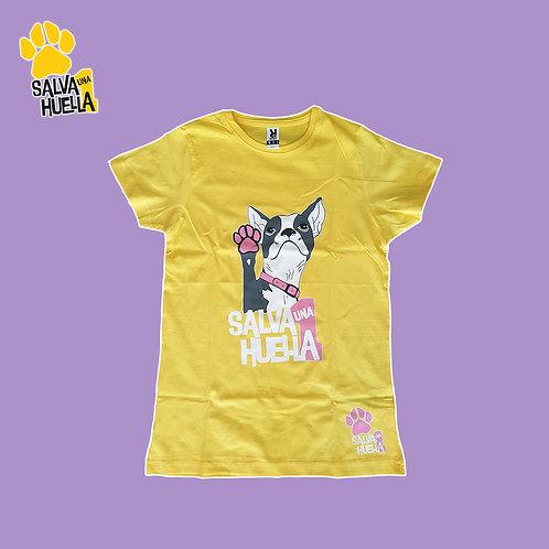 Camiseta Amarilla Bulldog Rosa - Mujer y Niños/as