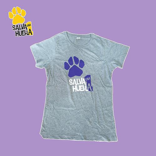 Camiseta Gris Salva 1 Huella - Mujer y Niños/as
