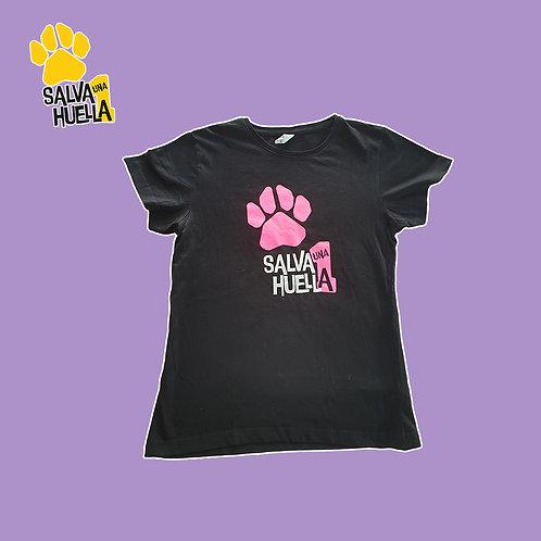 Camiseta Salva 1 huella Negra y Rosa - Mujer y Niños/as