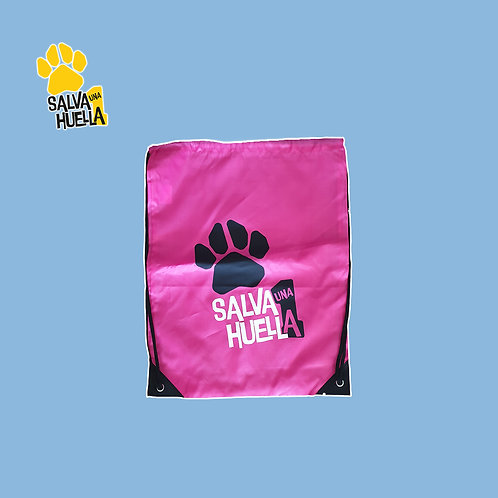 Mochila de Cuerdas Rosa Salva 1 Huella Logo Negro