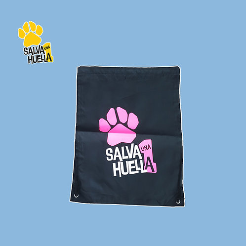 Mochila de Cuerdas Negra Salva 1 Huella Logo Rosa