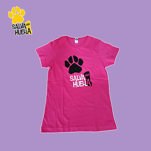 Camiseta Salva 1 huella Rosa - Mujer y Niños