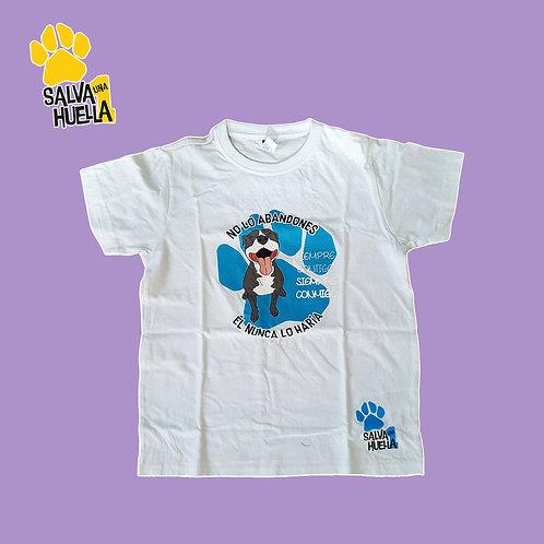 Camiseta Blanca Abandono Pit Blue - Adultos y Niños
