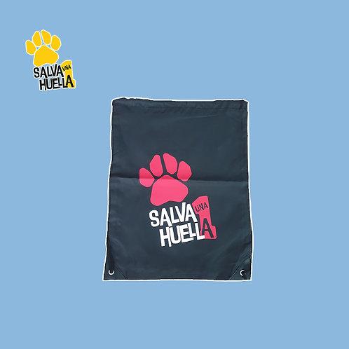 Mochila de Cuerdas Negra Salva 1 Huella Logo Rojo