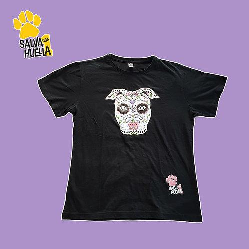 Camiseta Negra Catrina Rosa - Mujer y Niños/as