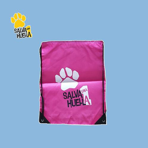 Mochila de Cuerdas Rosa Salva 1 Huella Logo Blanco
