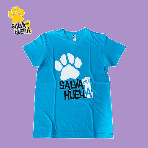 Camiseta Azul Salva 1 huella - Adulto y Niños/as