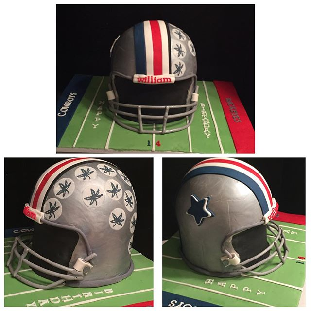 Helmet cake.