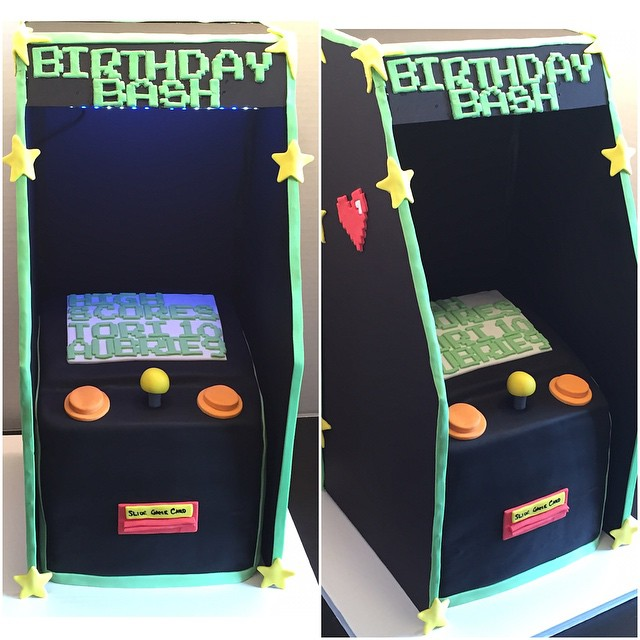 arcade game cake w/LED lights