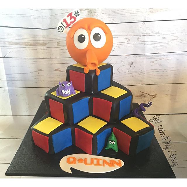 Q*bert inspired gamer cake
