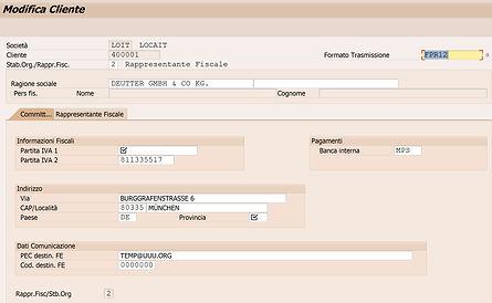 Esempio anagrafica avanzata in SAP per la fattura elettronica