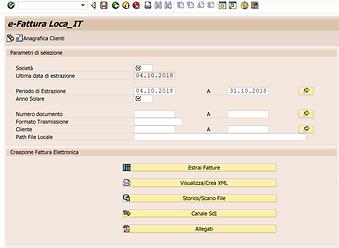 Menu software fattura elettronica in SAP