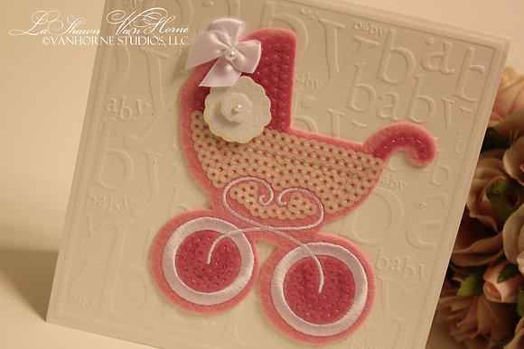 Pink-A-Boo Stroller Greeting Card