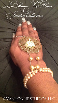 Gold & Pearls Chain Ring and Bracelet