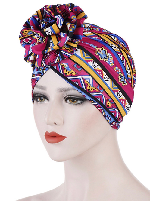 Tribal Girl Turban ( Rose Red and Sapphire)