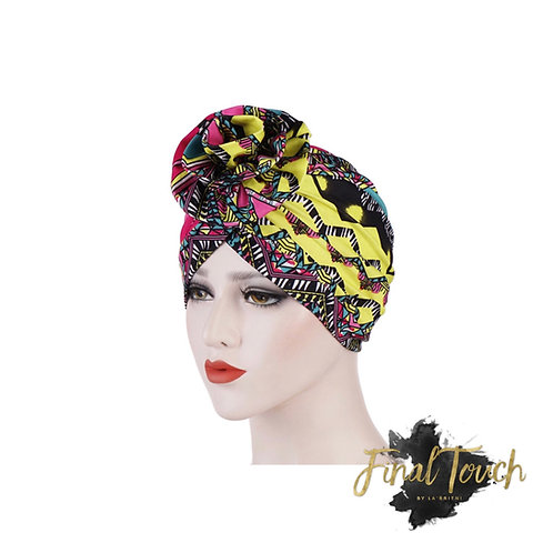 Tribal Girl  Turban (Teal and Yellow)