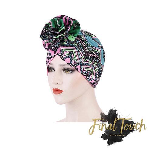Tribal Girl Turban ( pink and green)
