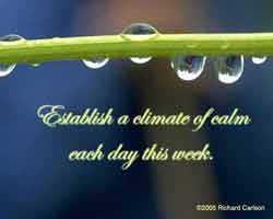 Establish a climate of calm