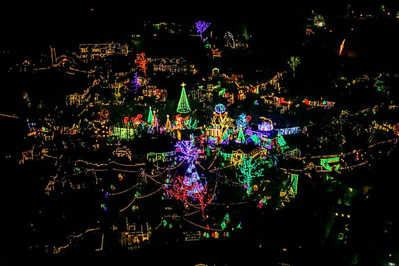 SILVER DOLLAR CITY AT CHRISTMAS FROM A HELICOPTER