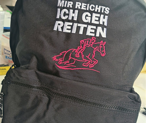 "Backpack Rucksack, recycelt, inkl Stick ""...Reiten..."""
