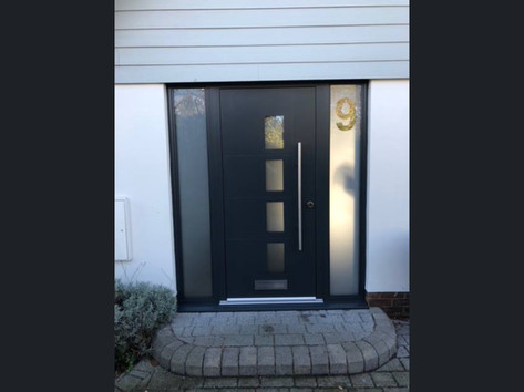 Aluminium Entrance Door with etched side light