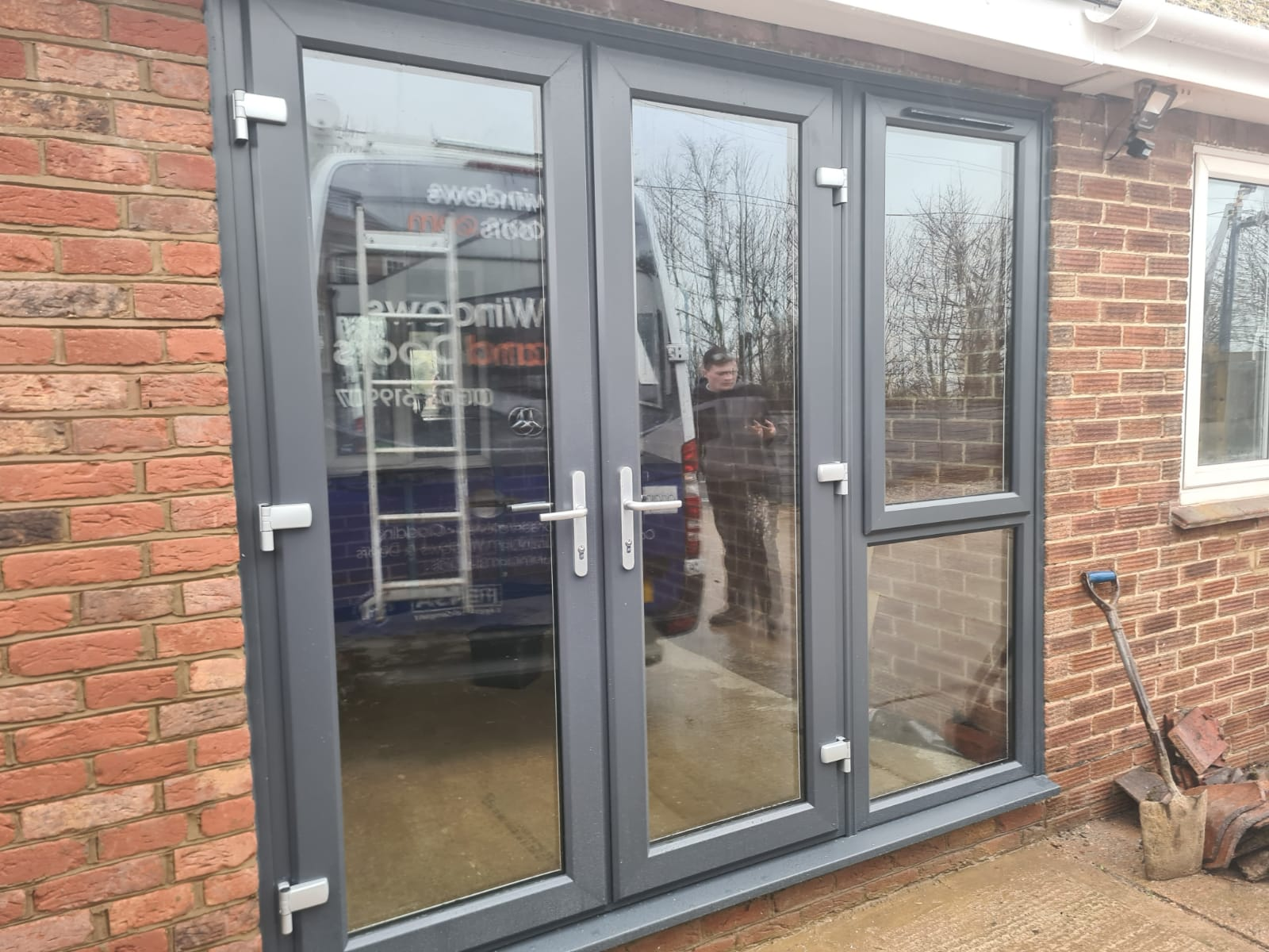 Anthracite French Doors with opening sid