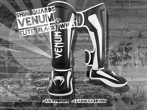 VENUM ELITE STANDUP SHIN GUARDS - BLACK/WHITE