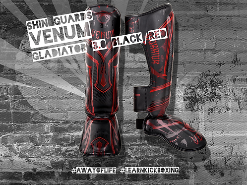 VENUM GLADIATOR 3.0 SHIN GUARDS - BLACK/RED