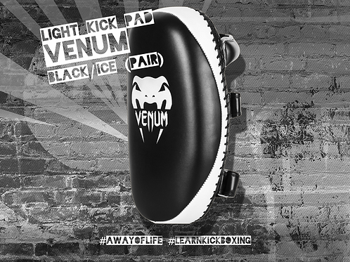 VENUM LIGHT KICK PAD - SKINTEX LEATHER - BLACK/ICE (PAIR)