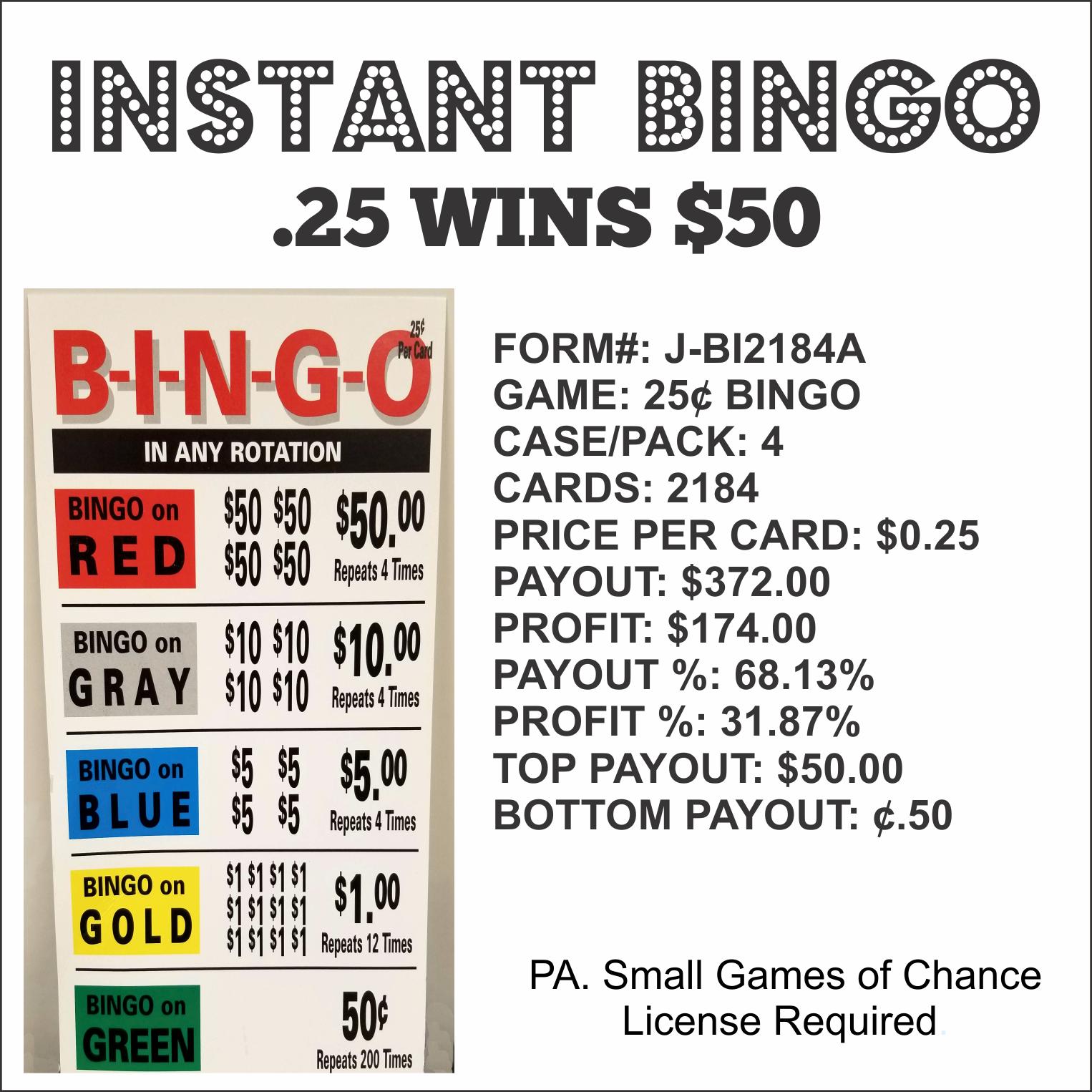 Instant Bingo .25 wins $50