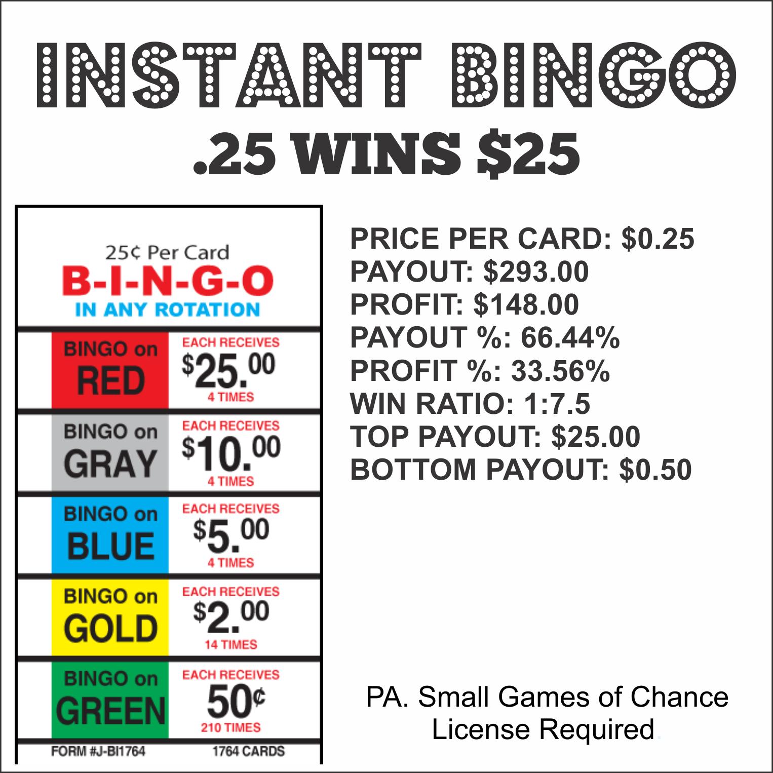 Instant Bingo .25 Wins $25