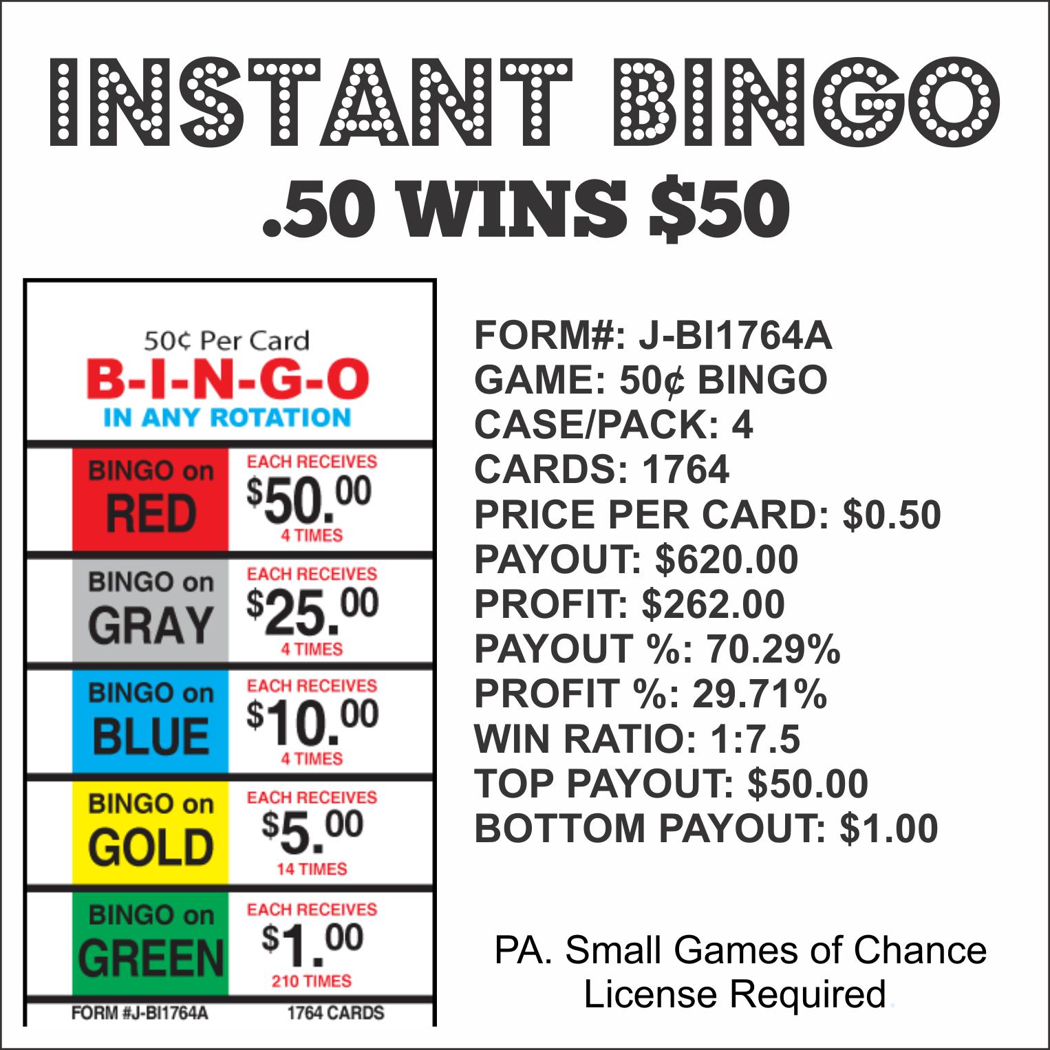 Instant Bingo .50 Wins $50