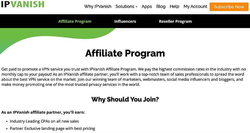 ipvanish affiliates review