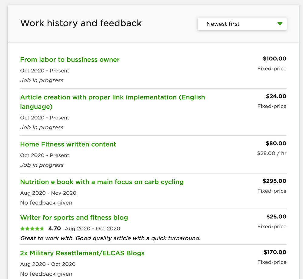 work history and feedback - Upwork