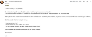 Luca's third email to Rand - ROI of guest posting
