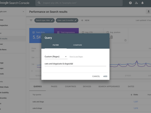 Regular expression and further data filtering have been added to Google Search Console