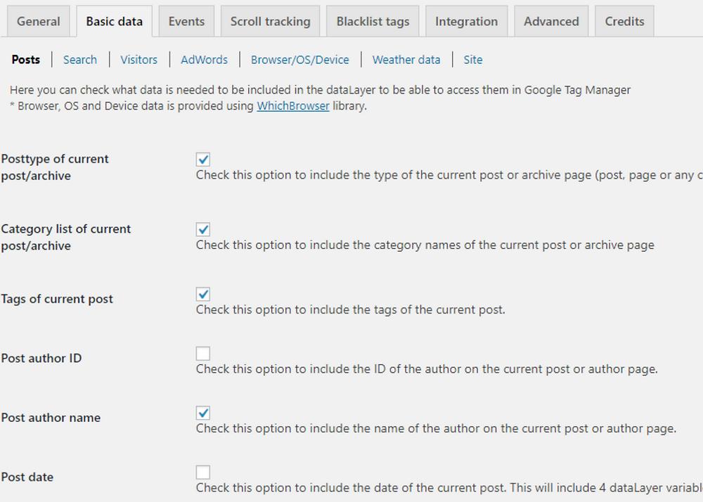 gtm wordpress plugin preferences