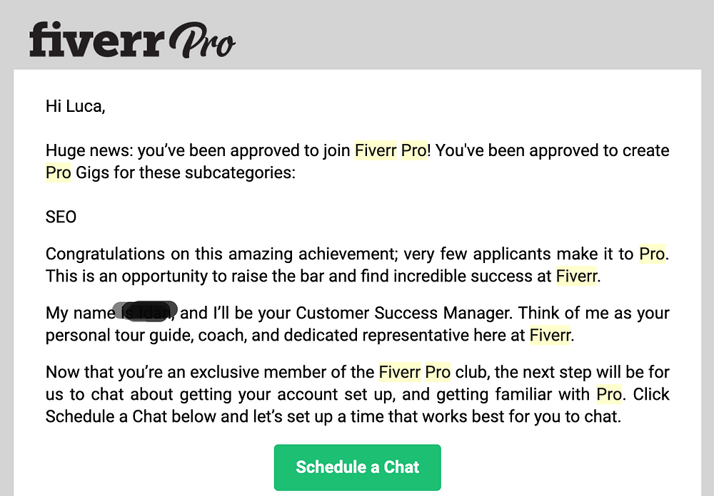 Welcome email to Fiverr Pro - Luca Tagliaferro