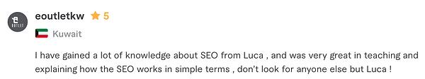 SEO consultant review - Luca Tagliaferro