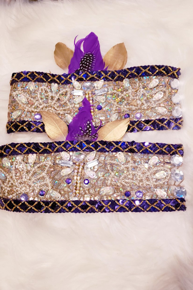 Purple and Gold Thigh Garter