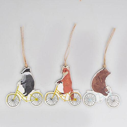 12er Set mit Geschenkanhängern Tiere auf Fahrrad