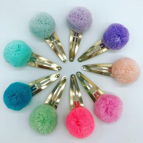 Handgemachte Wollpompom Haarspängeli - Candy Pop